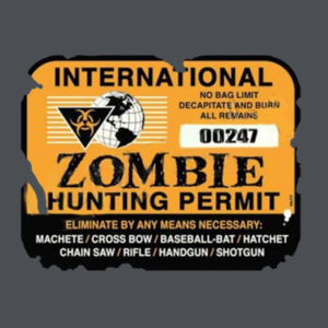 Zombie Hunting Permit - Ladies V-Neck T Design