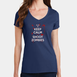Keep Calm and Shoot - Ladies V-Neck T Thumbnail